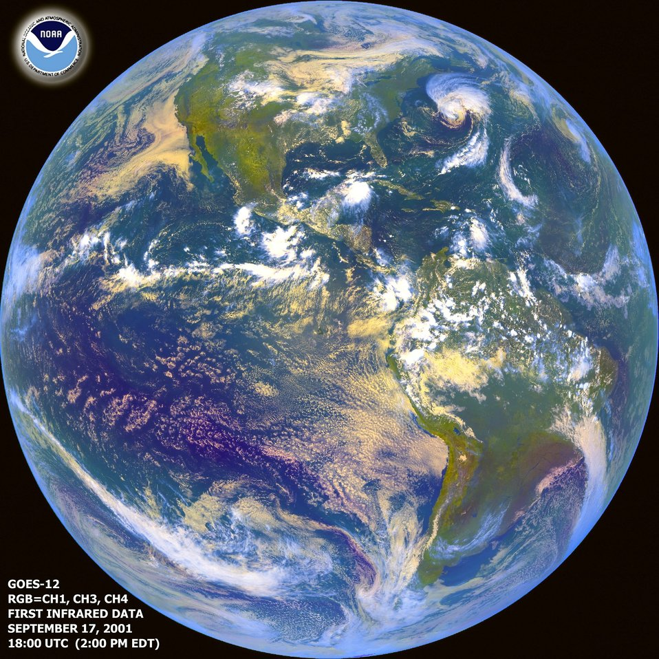 First Infrared data from GOES 12 geostationary satellite.