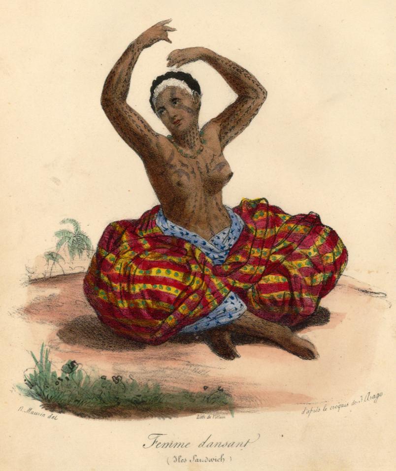 'Femme dansant, Iles Sandwich' by Jacques Arago, published 1840.jpg