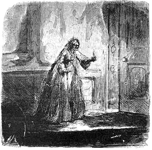 Miss Havisham carrying a bare candle in her hand, by John McLenan
