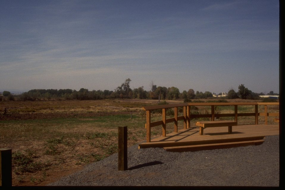 Wildlife viewing platform at the West Eugene Wetlands Project Site.