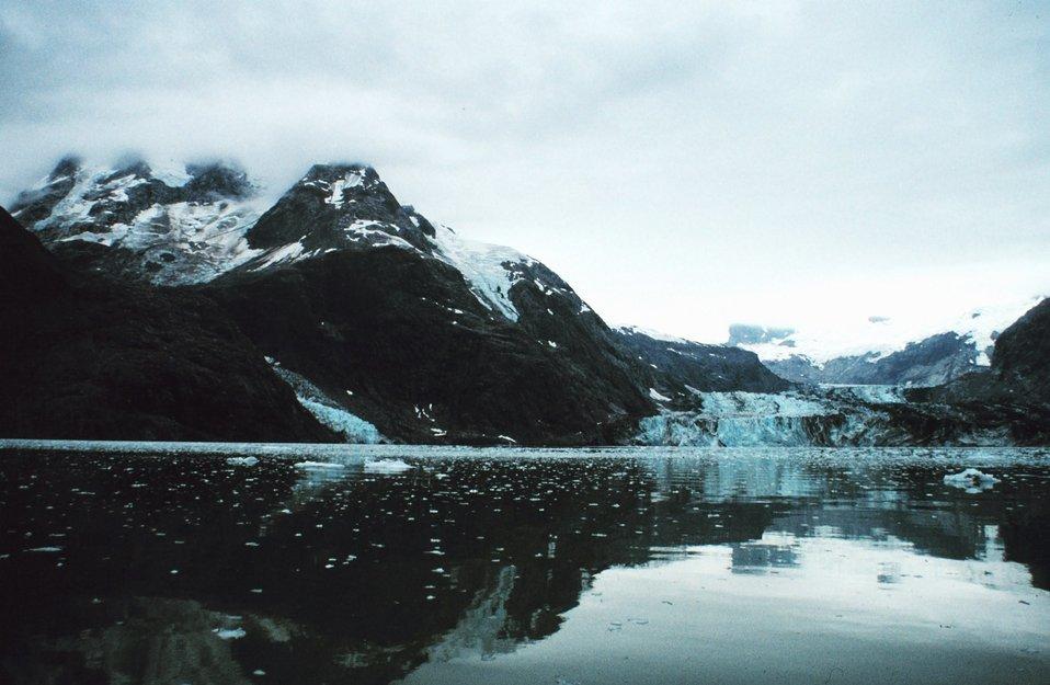 Johns Hopkins Glacier on right- Clark Glacier on left.