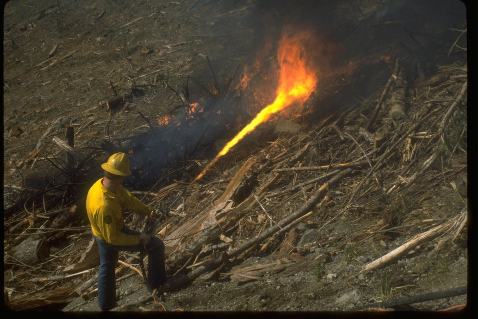 The ignition of a prescribed fire.