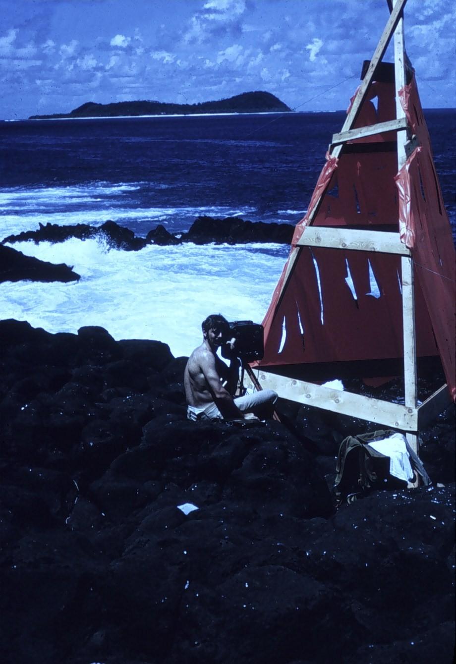 Lester B. Smith making Tellurometer observations. Off of SURVEYOR