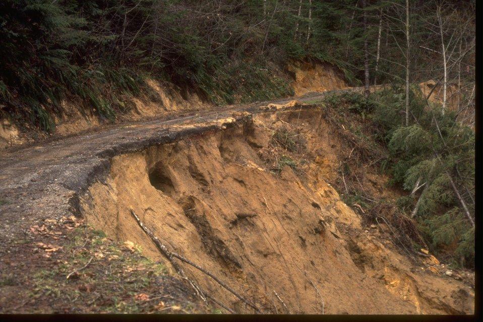 Road damage from landslide.