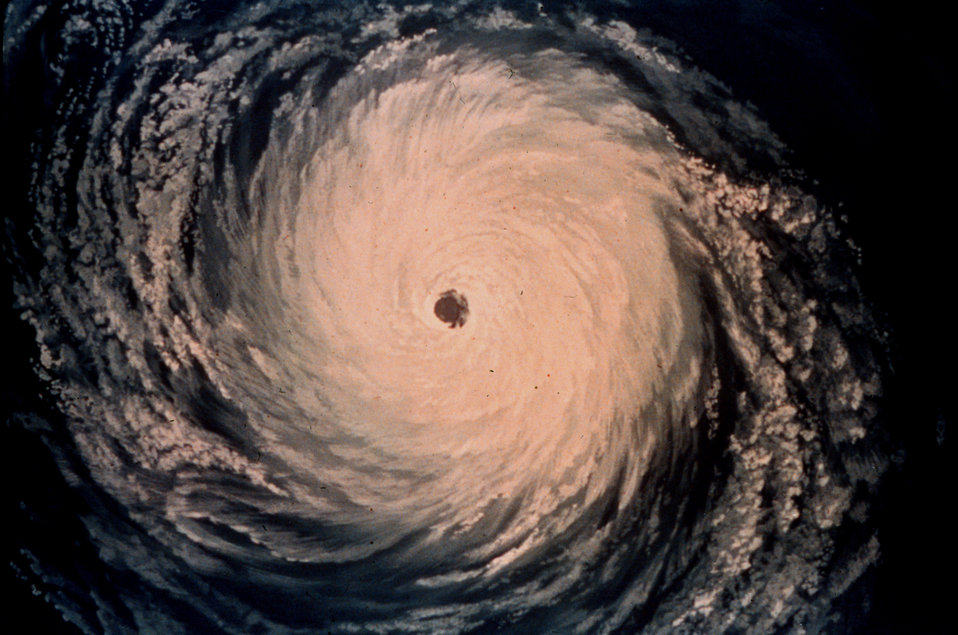 Artist's rendition of a satellite view of a hurricane