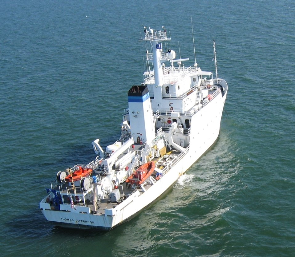 The NOAA Ship THOMAS JEFFERSON surveying approaches to harbors and the interior of harbors for obstructions.  NOAA also sent hydrographic field parties to the stricken area and had resurveyed and cleared harbors in the area for ship traffic within three