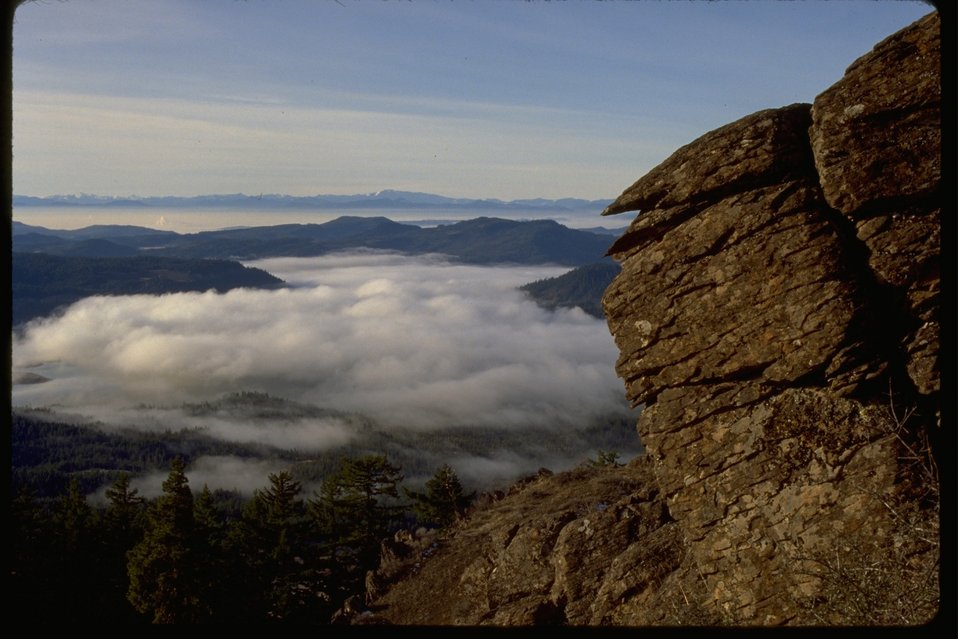 View from Flounce Rock looking out into the clouds.