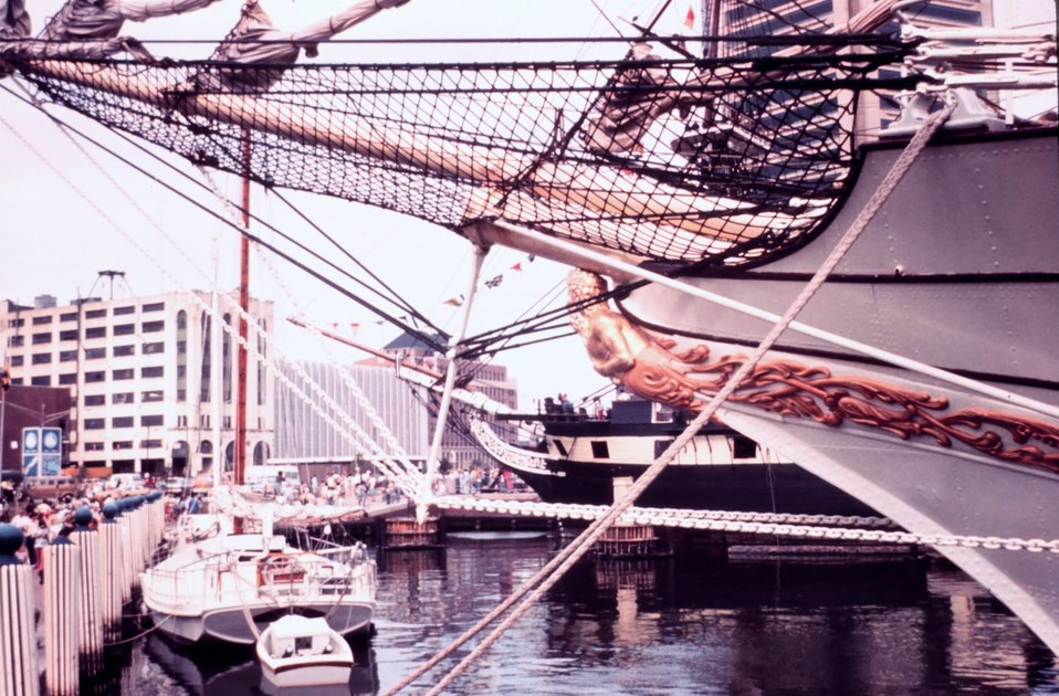 The bow of the DANMARK, Danish tall ship, tied up in Manhattan