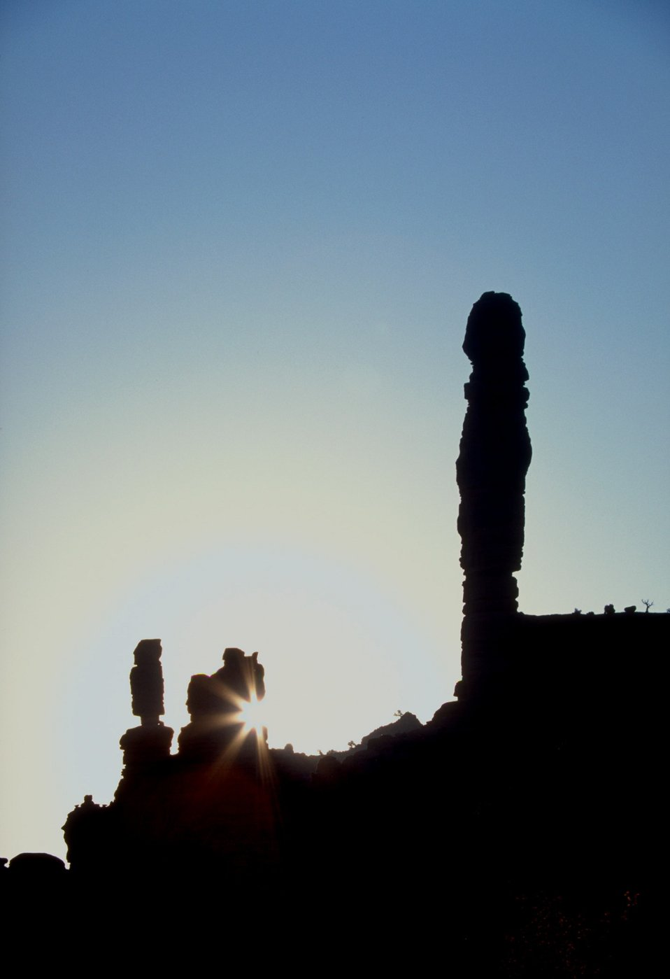 Spires silhouetted in Onion Creek area near Moab, Utah.