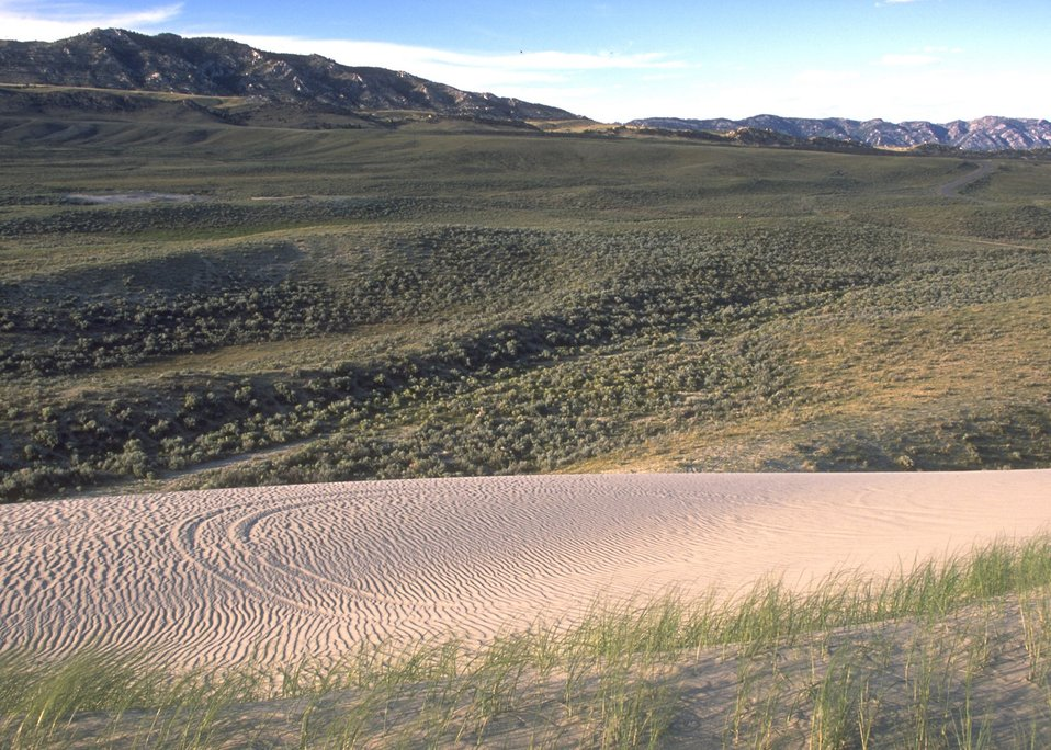 Sand dunes along the Alcova/Seminoe Back Country Byway, Rawlins Field Office.