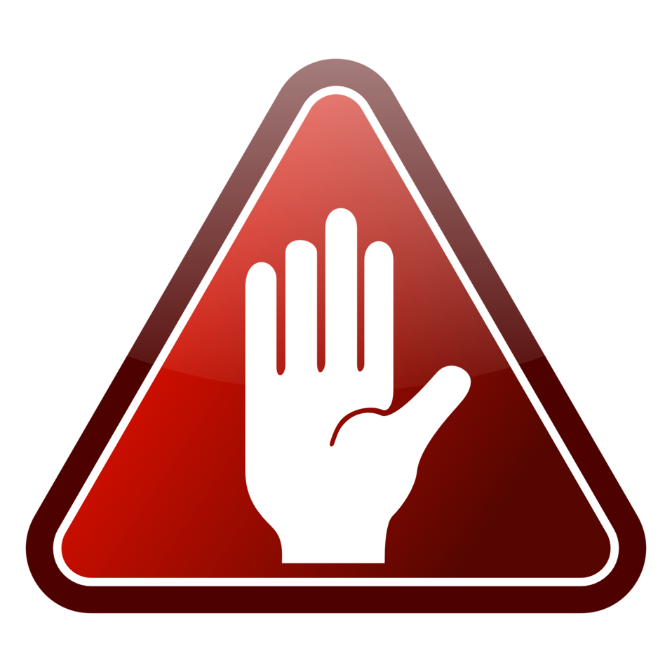 Red triangle hand icon