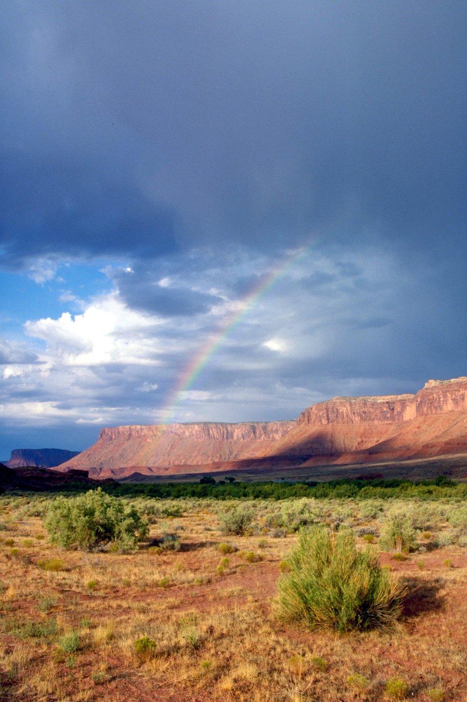 Rainbow along Colorado Riverway Highway 128 near Moab, Utah.
