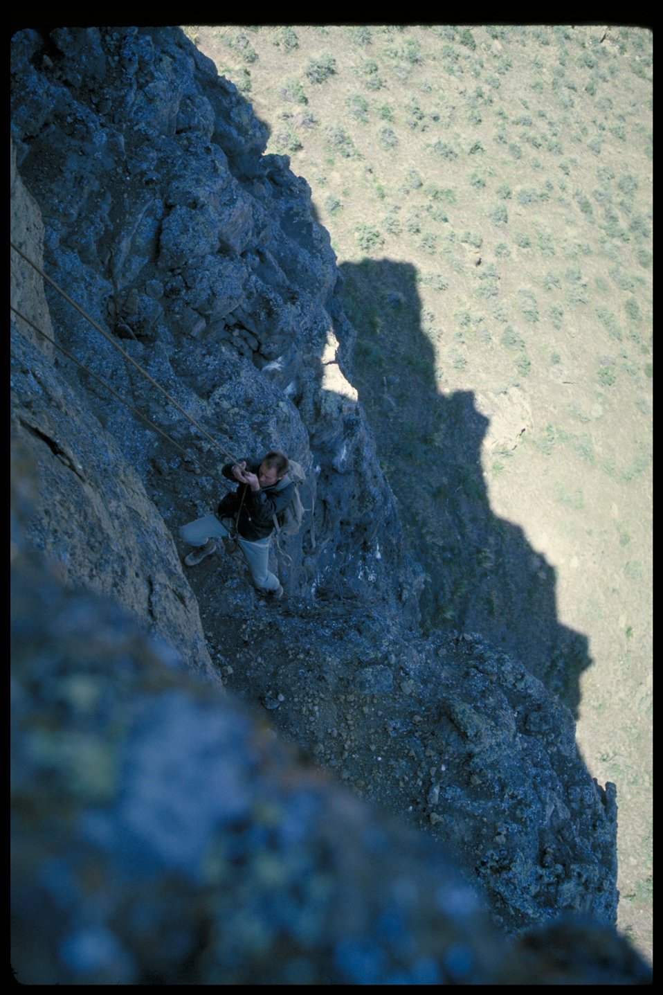 Climbing into Eagle Eyrie in Swan Falls  Birds of Prey National Conservation Area  BOP  Owyhee Field Office  LSRD  Lower Snake River District