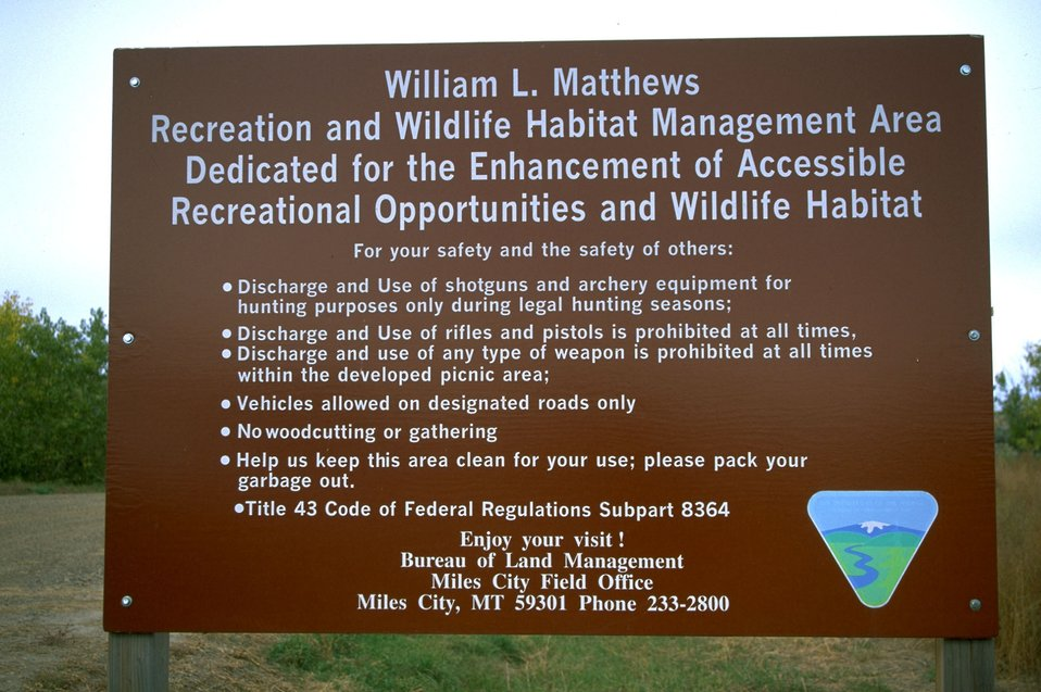 Entrance sign to the Matthews Recreation Site