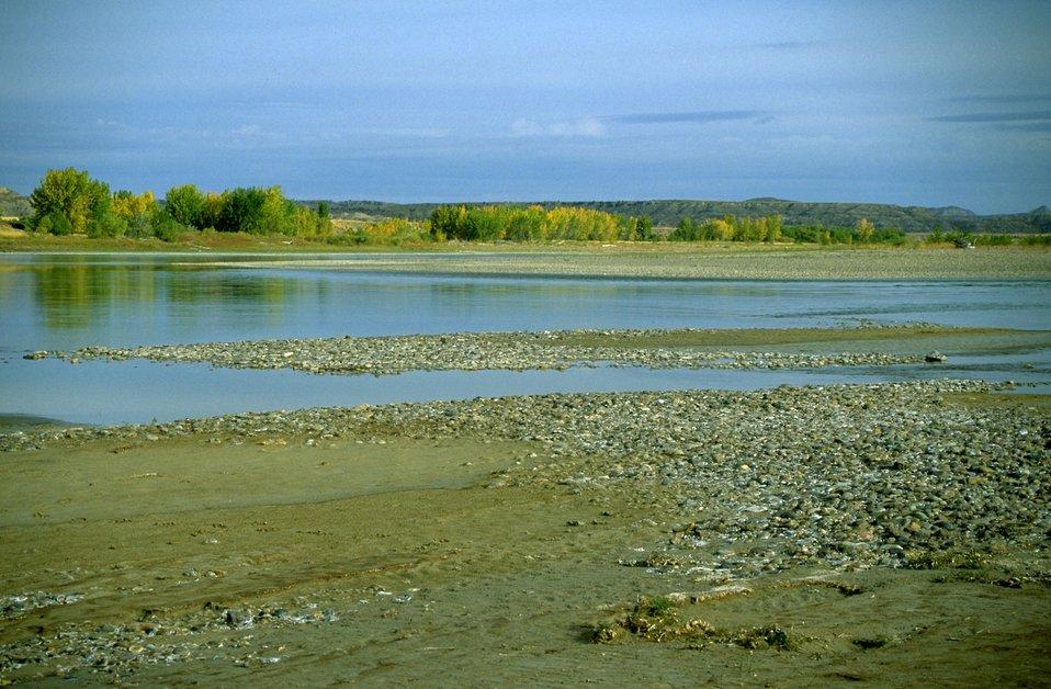 Gravel banks along the Yellowstone River