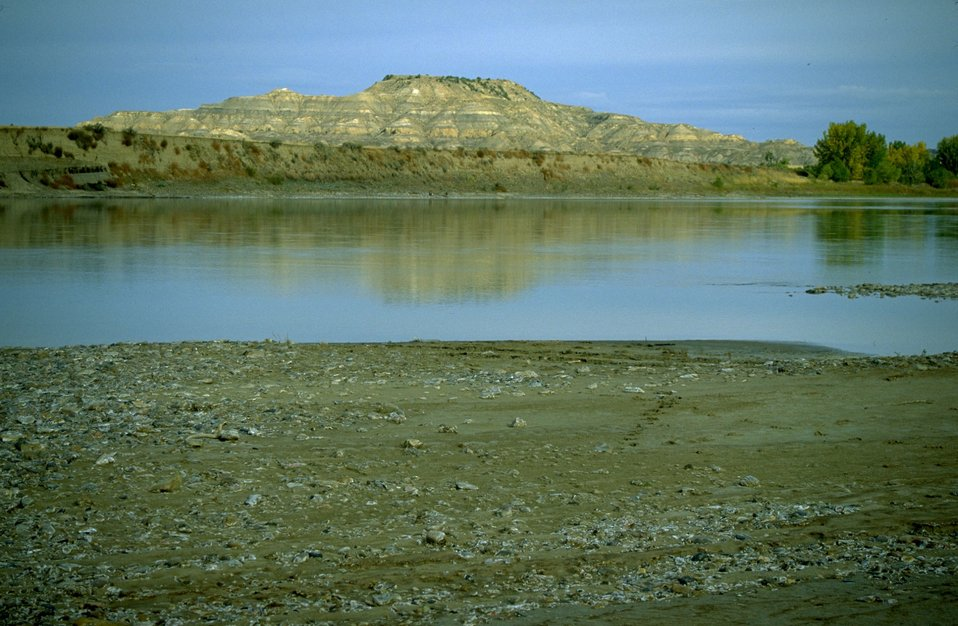 Reflection of Sheridan Butte in the Yellowstone River
