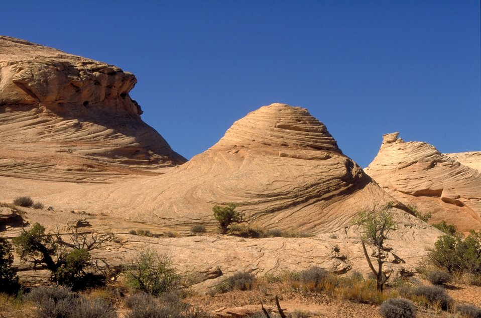 Slickrock formations near the head of Spring Canyon near Moab, Utah.