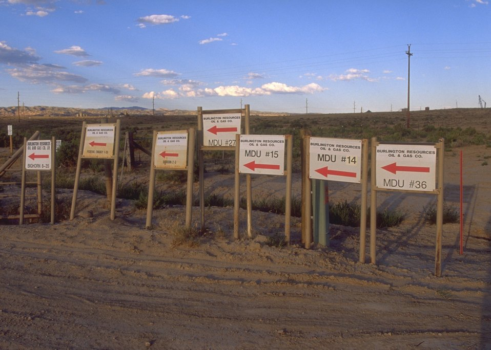 Signs showing location of drill units, Casper Field Office.