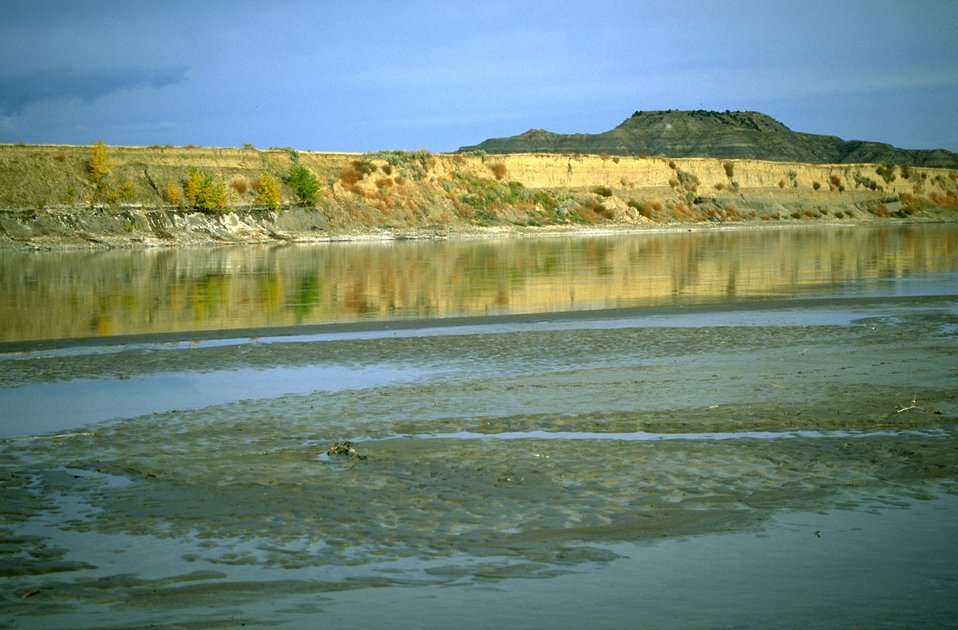 Reflection of Sheridan Butte on the Yellowstone River