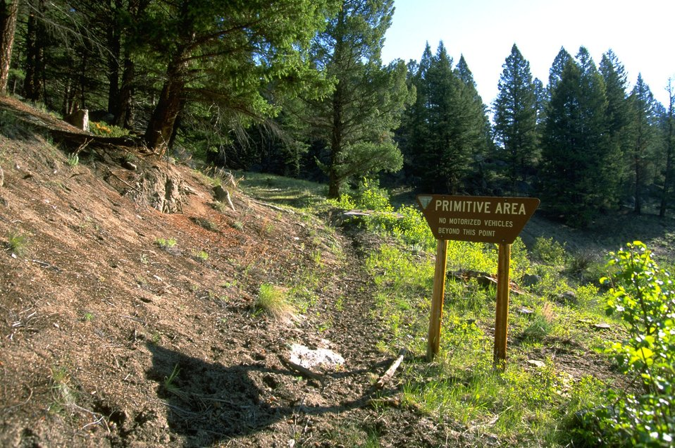 Primitive Area Sign and trail