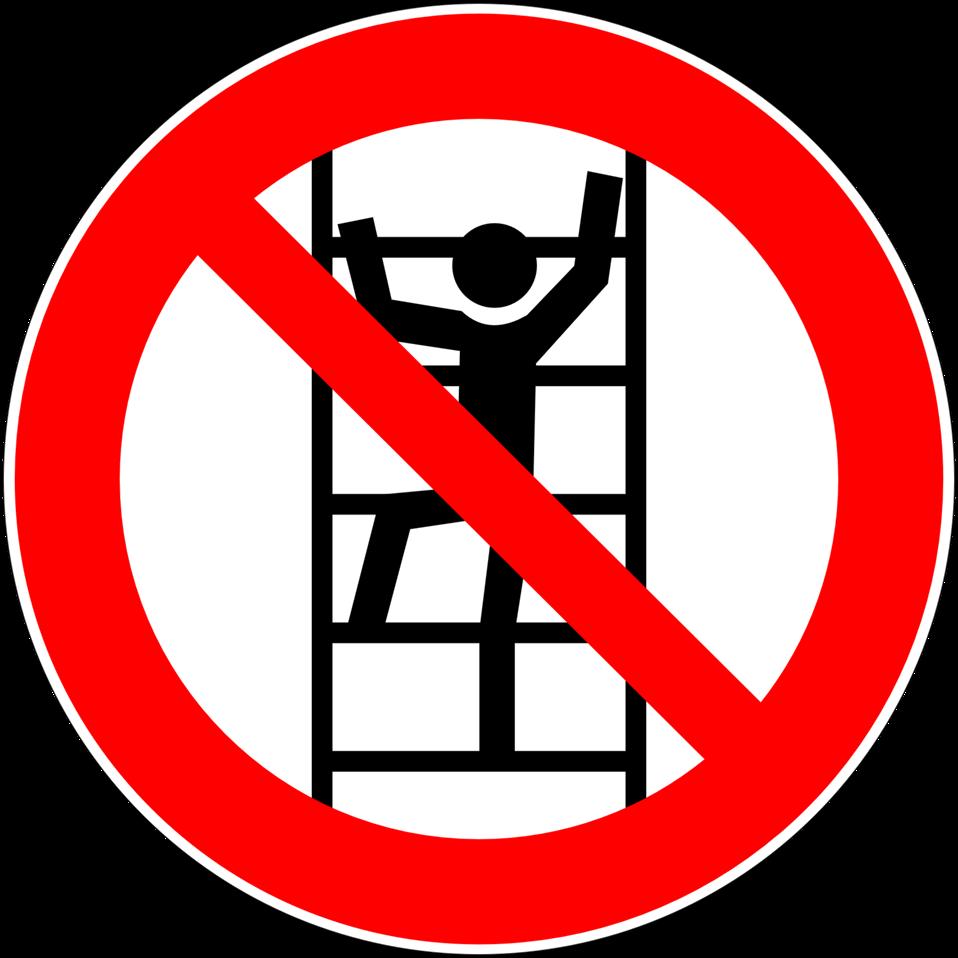 Deutsch:  Besteigen für Unbefugte verboten, Verbotszeichen D-P022 nach DIN 4844-2 Do not climb unless authorised, prohibition sign D-P022 according to German standard DIN 4844-2