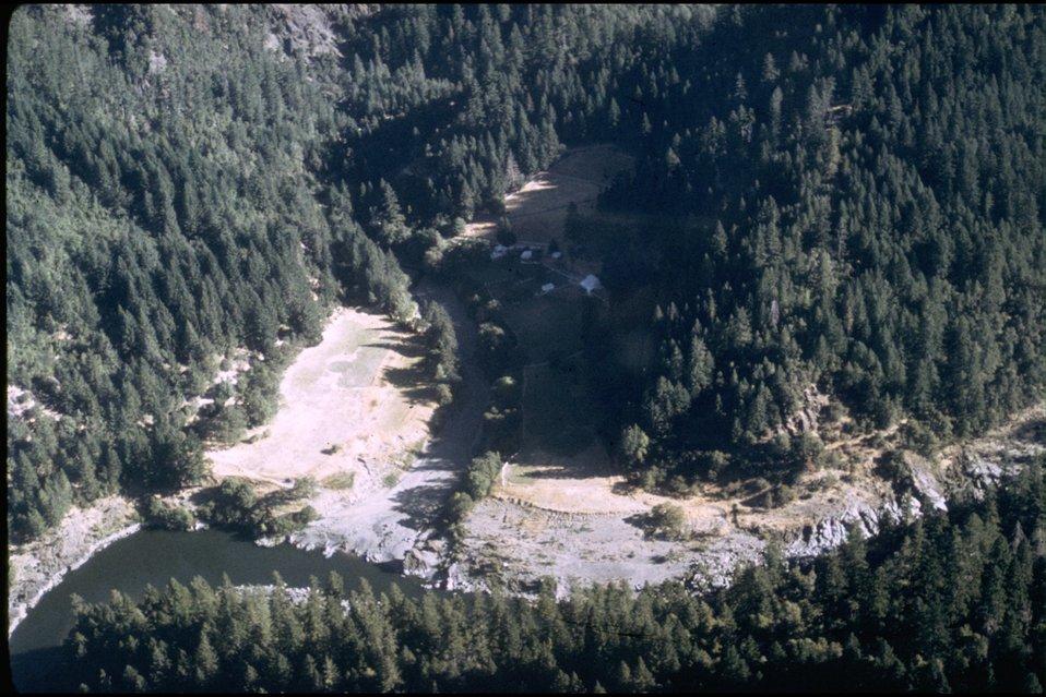Rogue River; Rogue River Ranch - Mule Creek, aerial view.