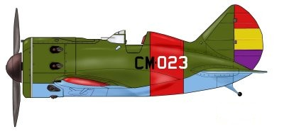 The I-16 Polikarpov No CM-023 flown by FG Tinker in the 1st Sq Moscas with which he shot down the 2 German Bf109B