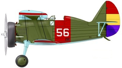 The I-15 Polikarpov No 56 flown by Frank Glasgow Tinker as part of the Yankee Squadron of the Spanish Republican Air Force, during the Spanish Civil War.