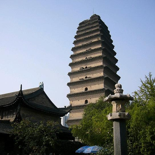 Small Wild Goose Pagoda, built by 709, was adjacent to the Dajianfu Temple in Chang'an, where Buddhist monks from India and elsewhere gathered to translate Sanskrit texts into Chinese