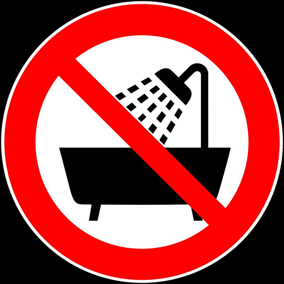 Deutsch:  Verbot, dieses Gerät in der Badewanne, Dusche oder über mit Wasser gefülltem Waschbecken zu betreiben, Verbotszeichen D-P025 nach DIN 4844-2. Prohibition symbol: do not use the device in a bathtub or shower or over a sink filled with water. P