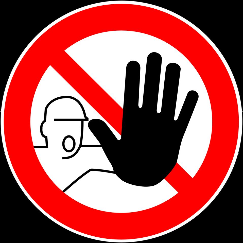 Deutsch:  Zutritt für Unbefugte verboten, Verbotszeichen D-P006 nach DIN 4844-2 Prohibition sign 'No unauthorized entry', sign D-P006 according to German industry standard DIN 4844-2