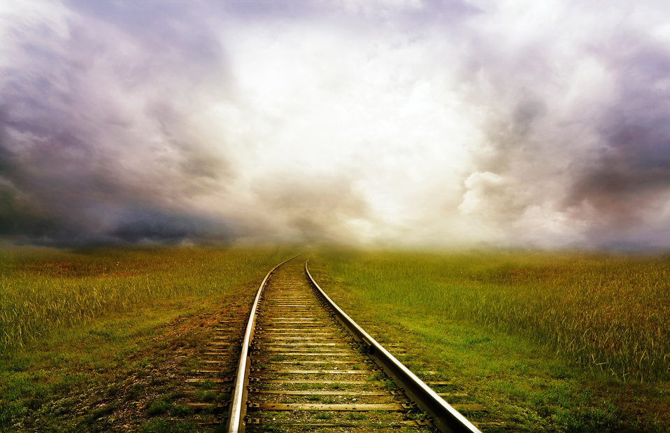 The railroad goes into the distance