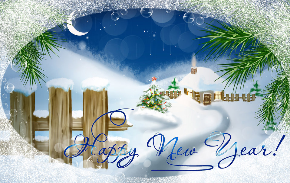 Card with new year