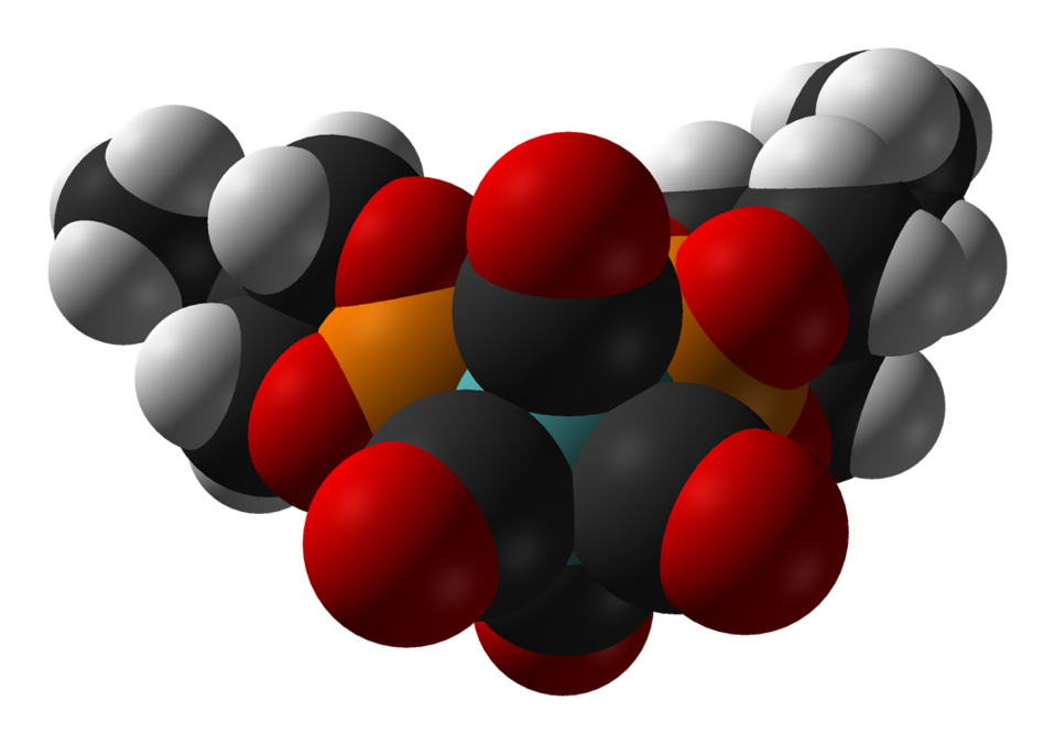 Space-filling model of the caged phosphite complex bis(trimethylolpropane phosphite)molybdenum tetracarbonyl, [(EtCage)2Mo(CO)4], as found in the crystal structure. Colour code:  Carbon, C: black Hydrogen, H: white Phosphorus, P: orange Oxygen, O: red Mol