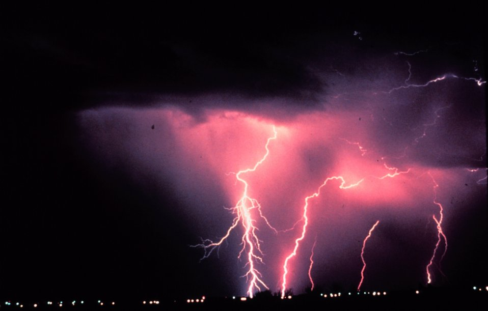 Time-lapse photography captures cloud-to-ground lightning during a night-time thunderstorm in Norman, Oklahoma - home of the NSSL.