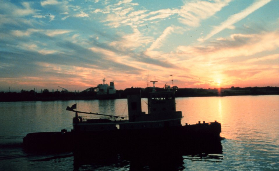 Sunset on the Mississippi River near downtown New Orleans.