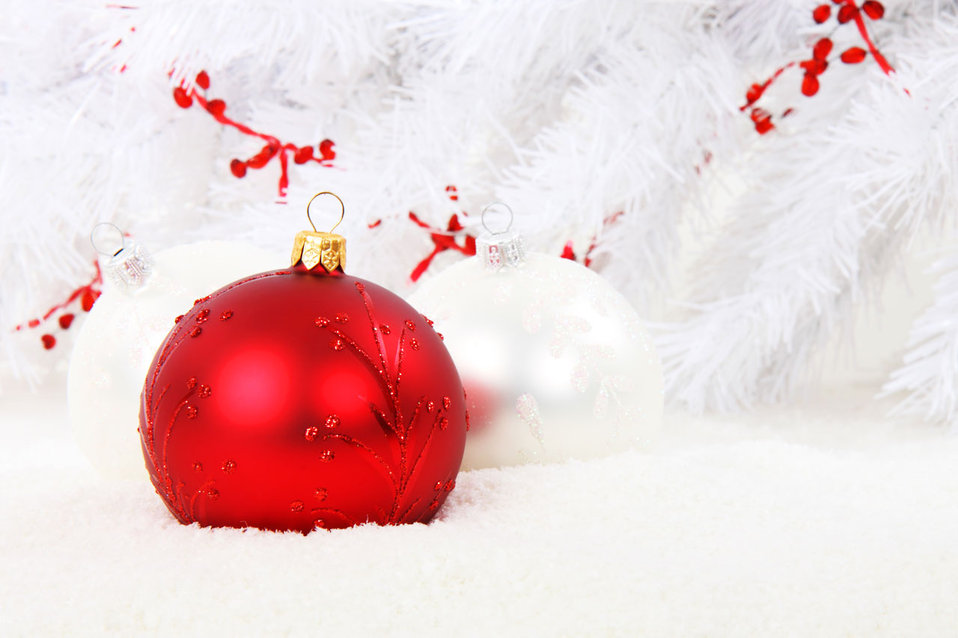 Red bauble with white balls