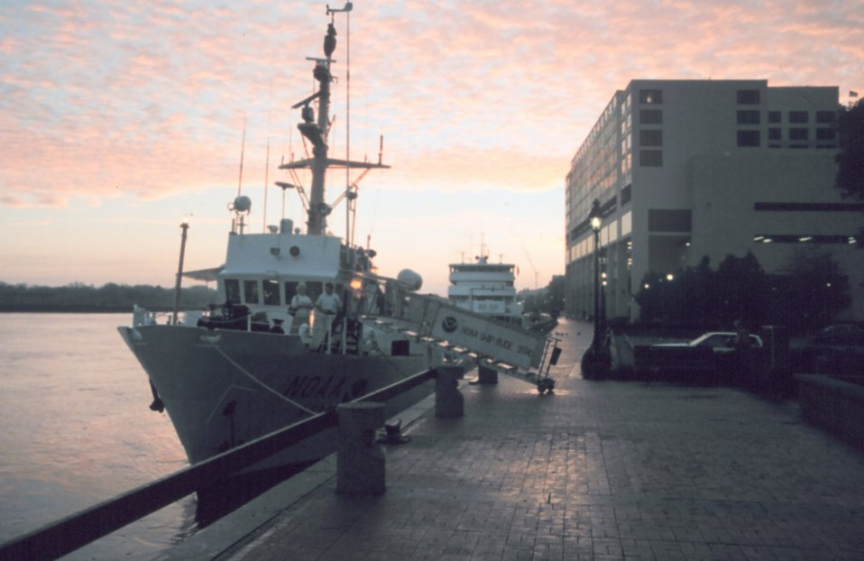 NOAA Ship RUDE tied up at sunset at NOAA's Atlantic Marine Center in Norfolk.