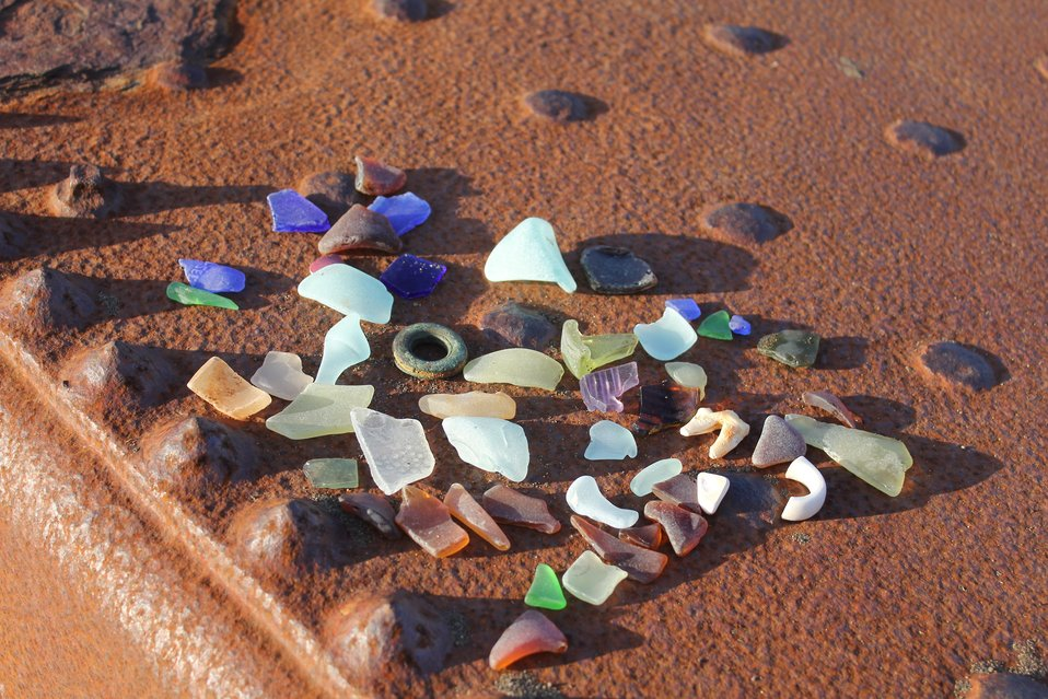 The history of St. Michael can be discerned from these glass remnants.  Russian, American, Chinese glass and porcelain fragments.