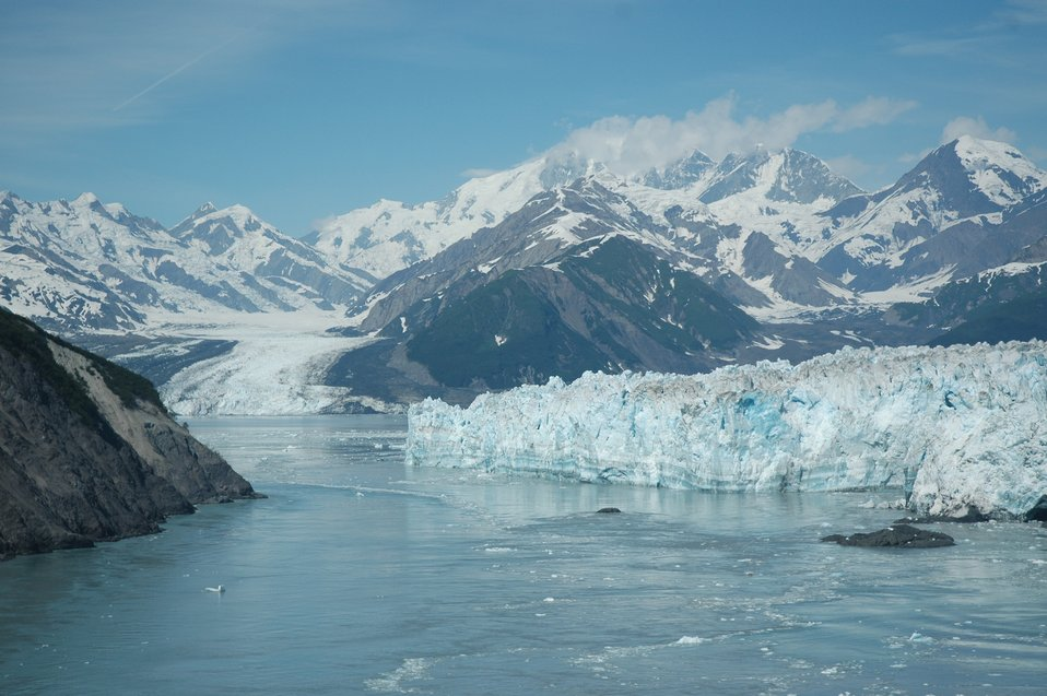 Hubbard Glacier is the largest tidewater glacier on the North American continent .  In contrast to most glaciers it has been advancing since first mapped in 1895 .  If it's advance continues, it will close off Russell Fjord and make the largest glacier-