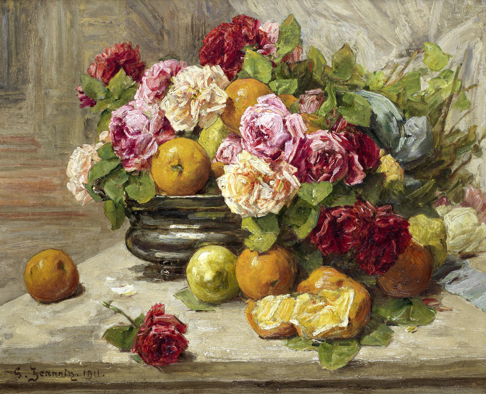 Still life of roses and fruit. Signed and dated 'G. Jeannin. 1911.' (lower left); oil on canvas; 50 x 61 cm