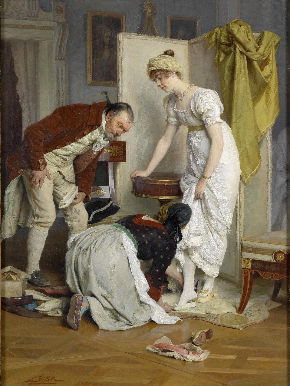 'Die Schuhprobe', rückseitig betitelt, signiert F. Simm, Öl auf Holz, 42 x 32 cm