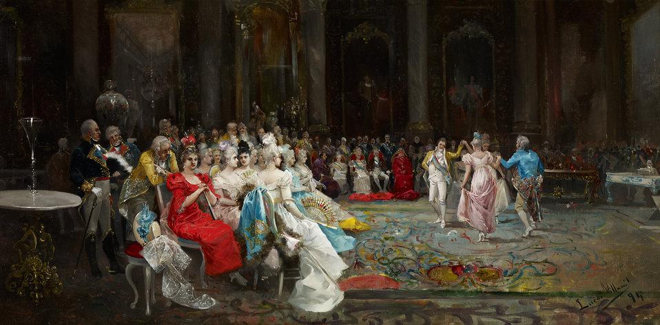 Dance at the Palace. Oil on canvas, 55 x 110 cm, Inv. CTB.1995.159    Museo Carmen Thyssen         Native name Museo Carmen Thyssen   Location Málaga, Spain    Coordinates 36°43′17″N, 4°25′22″W      Established 2011   Website