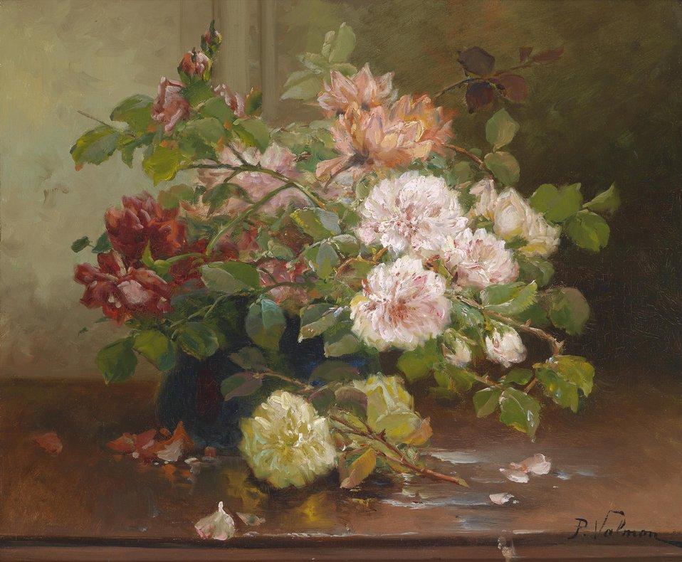 Blumenstillleben, signiert mit dem Pseudonym P. Valmon, Öl auf Leinwand, 45,5 x 55 cm (W