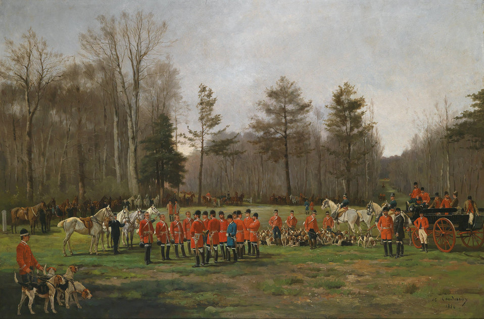 Deutsch:  Vor der Fuchsjagd, signiert, datiert De Condamy 1884, Öl auf Leinwand, 80,5 x 120 cm