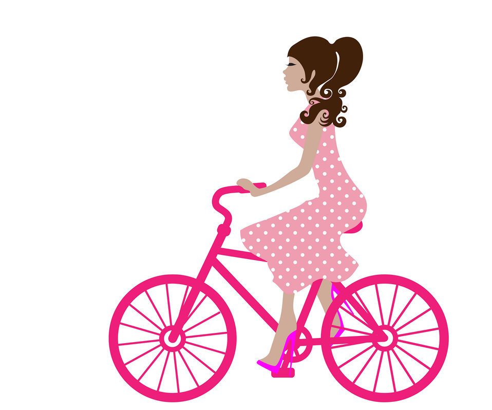 Girl on bike clipart