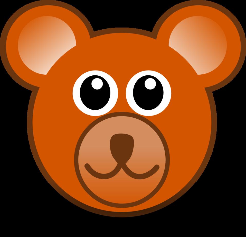 funny teddy bear face brown