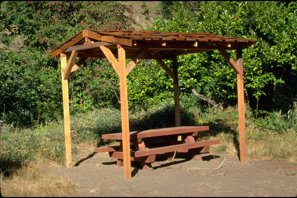 Rogue River - Carpenter's Island, BLM Recreation Site Picnic Shelter. Hellgate Recreation Area.