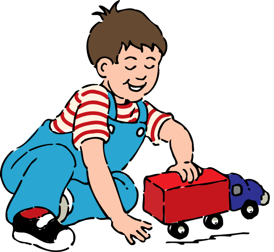 boy playing with toy truck