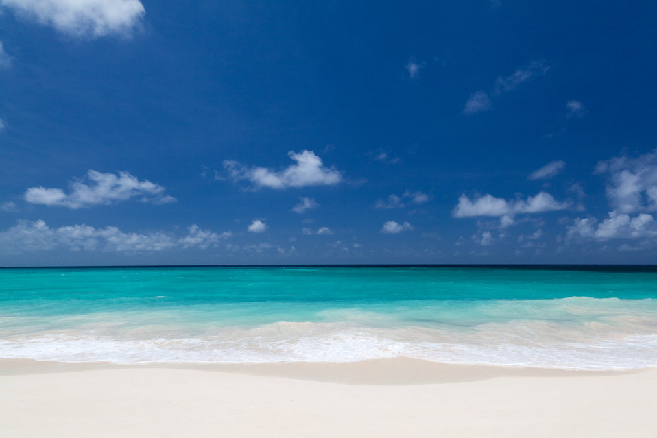 White beach and blue sky